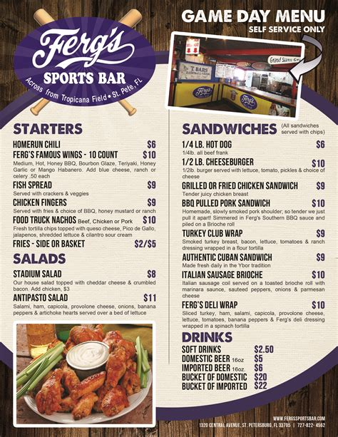 patio grill menu ferg s sports bar