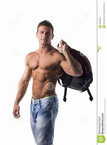 Shirtless Muscular Young Man With Backpack On His Back Stock Photo