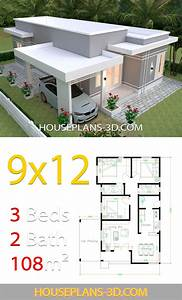 House, Design, Plans, 9x12, With, 3, Bedrooms, Terrace, Roof