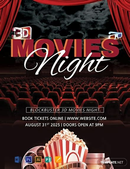 movies night flyer template word psd apple