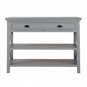 Table console en bois grise L 120 cm Newport Maisons du Monde