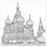 Coloring Cathedral Architecture Moscow Structures Pages Multiple Splendid Adult Fantastic Extraordinary Colors Bless Vasily sketch template
