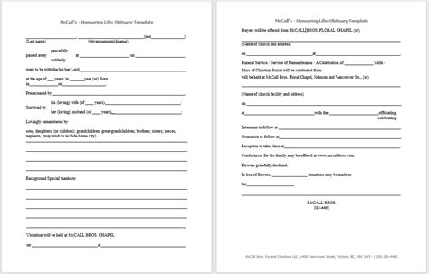 obituary templates samples  guides