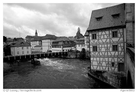 black and white picture photo houses and canal bamberg