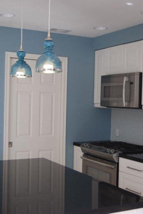 love these blue pendant lights and bright blue kitchen makeover blue pendantlight kitchen