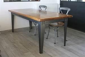 Table Industrielle Bois : table industrielle bois massif et acier luckyfind ~ Teatrodelosmanantiales.com Idées de Décoration