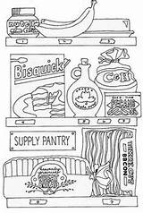 Pantry Coloring Kitchen Butler Storage sketch template