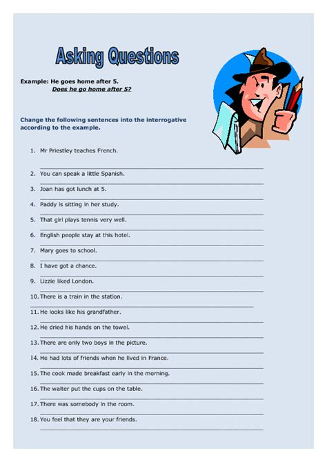 Asking Questions Elementary Worksheet