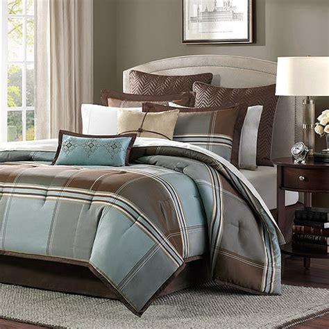 blue and brown bedding home essence daniel 8 piece comforter set blue brown walmart com
