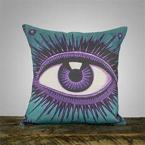 Eye pillow teal and amethyst decorative throw pillow purple for Amethyst throw pillows