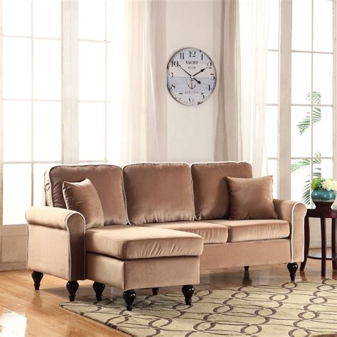 traditional small space champagne velvet sectional sofa  reversible chaise ebay