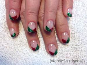 Red and green glitter french nail art gallery