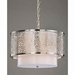Modern white nickel drum shade ceiling chandelier pendant