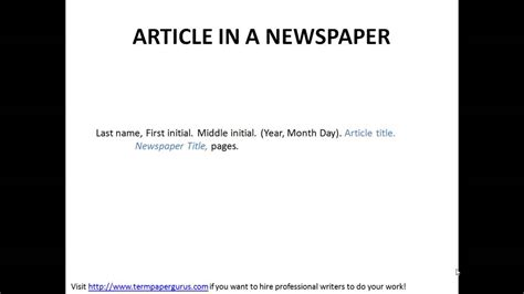 How To Cite An Article In A Newspaper In Apa Format