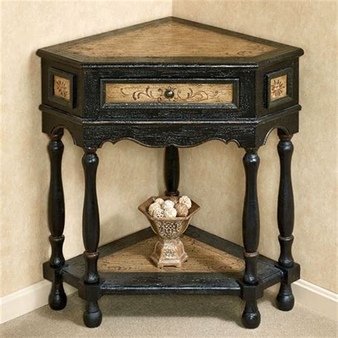 corner accent table elmhurst black corner accent table with drawer