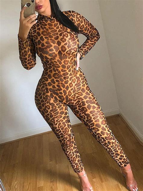 Brown Leopard Print Grenadine Band Collar Round Neck Long