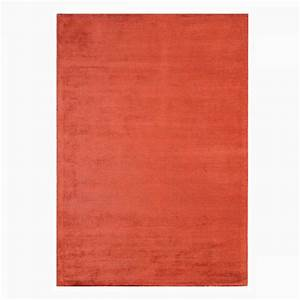 tapis contemporain rouge en viscose et coton tisse main With tapis contemporain rouge
