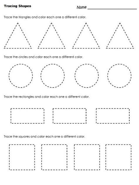 pre  shapes worksheets activity shelter