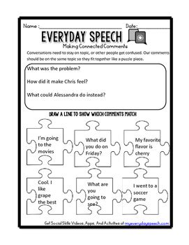 free social skills video companion worksheets by everyday speech