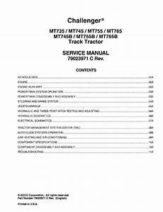Challenger Mt745b  Mt755b  Mt765b Tractor Service Manual