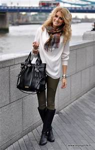 Olive pants White sweater Black accents. Cute for City Style. Clothes Casual Outift for ...