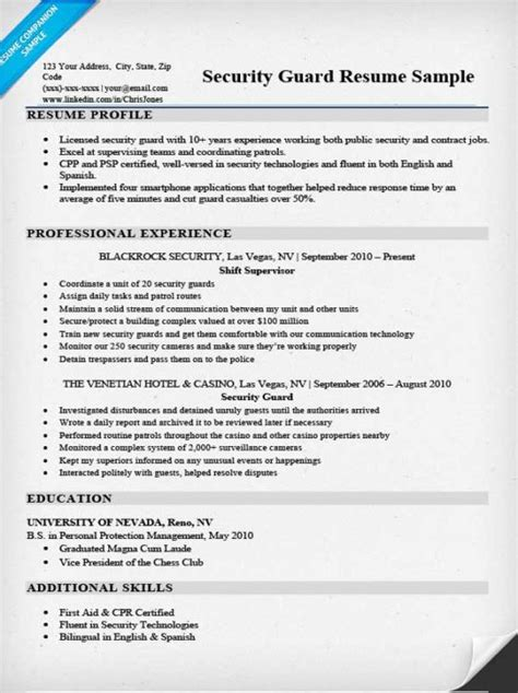 Resume For A Security by Security Guard Resume Sle Writing Tips Resume Companion