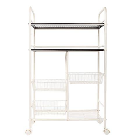 rolling storage cart kitchen shelf double row mesh basket rack organizer holder ebay