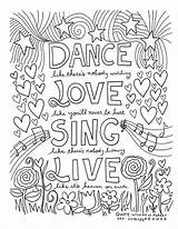 Dance Coloring Word Square Adult Quotes sketch template
