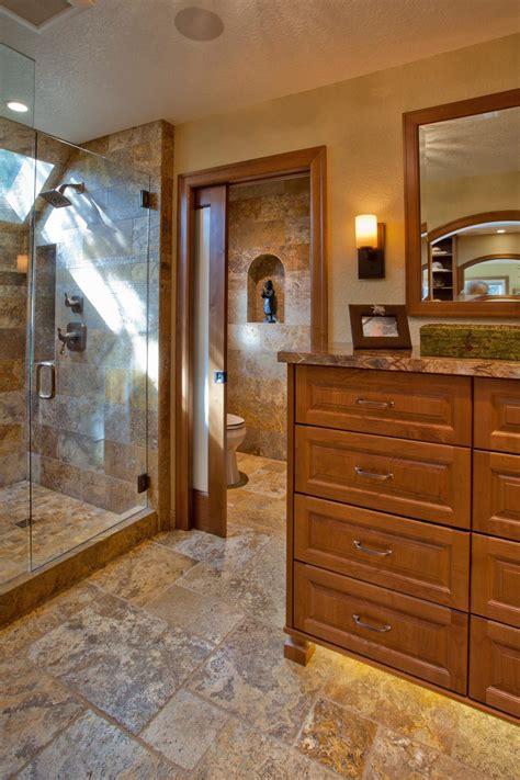craftsman master bathroom  neutral tile floors hgtv