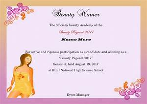 14 free pageant certificate templates for your next With pageant certificate template