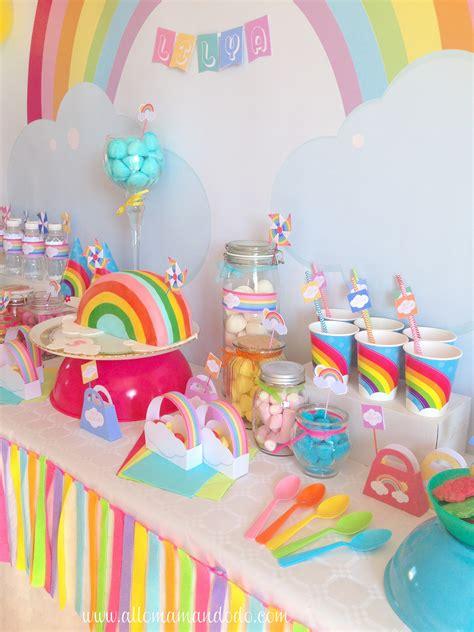 deco anniversaire et les la sweet table d 233 co d anniversaire quot arc en ciel quot les photos allo maman dodo