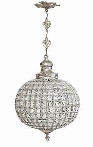 Lustre à Pampilles : lustre boule pampilles verre transparente avec bronzes argent s ~ Teatrodelosmanantiales.com Idées de Décoration