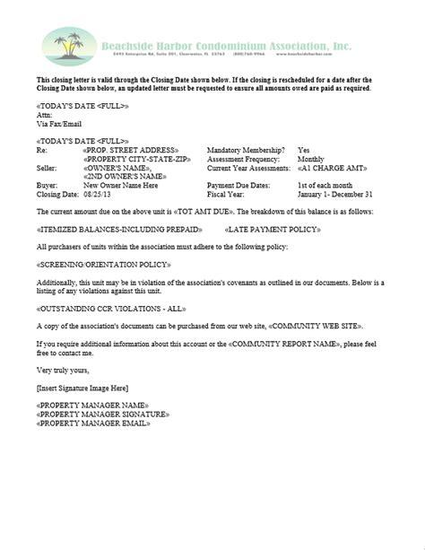 Hoa Estoppel Letter Template From
