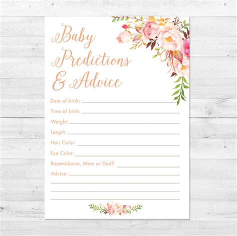 Bridal Shower Advice Cards Template Bridal Shower Advice Cards Template Baby Shower Prediction