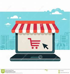 Online Store  Laptop With Awning Stock Image