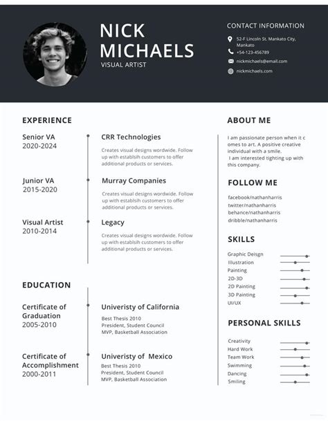 Official Cv Template by Free Visual Artist Photo Resume Cv Template In Photoshop
