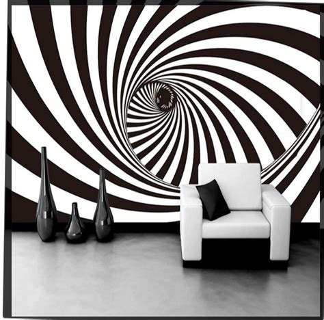 abstract black white vortex tunnel photo wallpaper wall