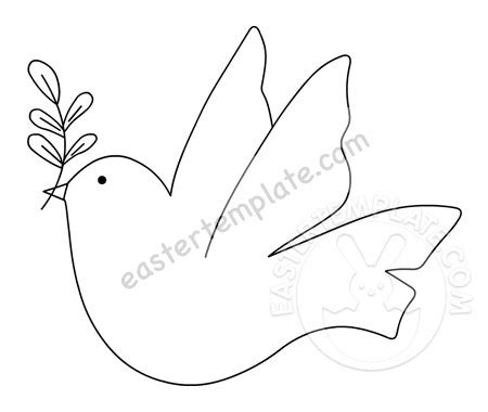 dove carrying olive branch printable easter template