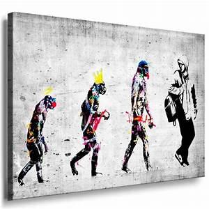 Bilder Auf Leinwand Kaufen : banksy evolution street art graffiti leinwand bild fertig auf keilrahmen kunstdrucke ~ Markanthonyermac.com Haus und Dekorationen