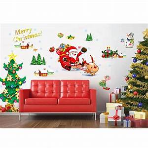 Merry christmas sled window wall stickers home decor