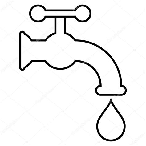 Waterkraan Kleurplaat by Water Tap Outline Vector Icon Stock Vector