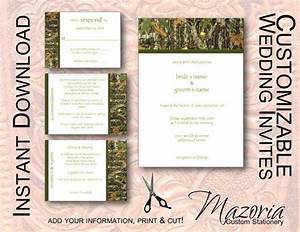 diy wedding invite set template instant download printable With free printable camouflage wedding invitations