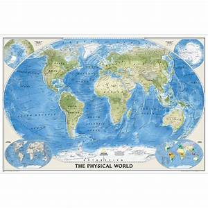 World Physical Wall Map  36 X 24 Inches