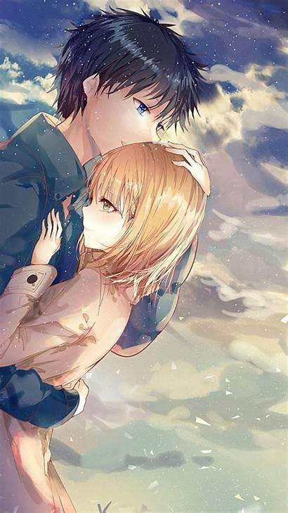 Anime Couple Romance Hug Iphone Wallpapers Scenic