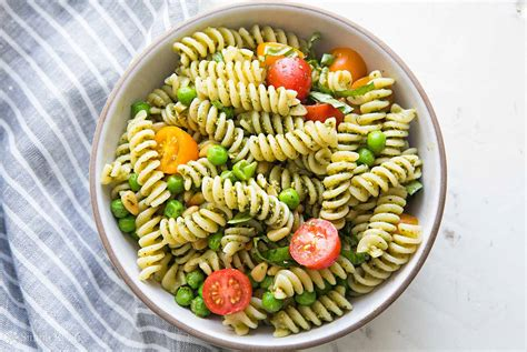 cuisine spaghetti pesto pasta salad recipe simplyrecipes com