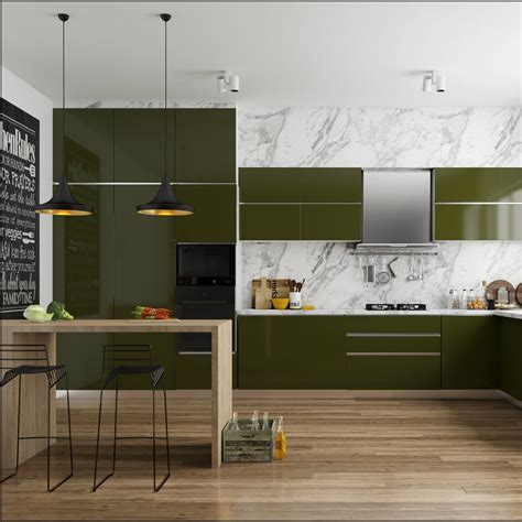 delicious olive green modular kitchen  sleek seating