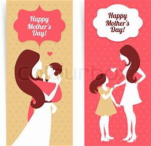 Happy Mother's Day Banners of beautiful silhouette of ...