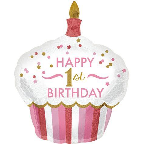 Pink First Birthday Helium Balloons  Large Cupcake 1st