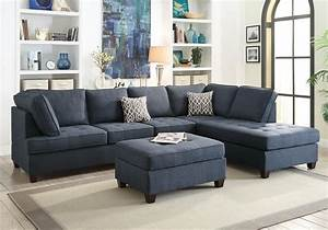 Reversible sectional sofa chaise ottoman tufted seat dark for Buchannan microfiber sectional sofa with reversible chaise grey