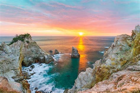 coast, Sunset, Japan, Sea, Clouds, Horizon, Rock, Water ...